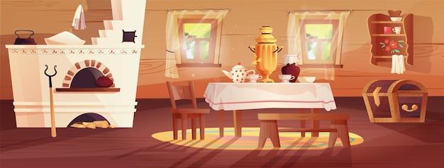 Interior aconchegante da cabana russa antiga cozinha ucraniana com potes de fogão, bancada, tapete, vassoura, janela, cortina, tapete, samovar, toalha de mesa