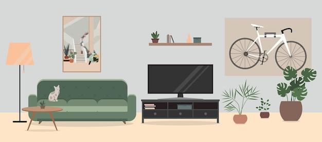 Interior aconchegante da sala de estar com flores de sofá de tv em vasos e uma bicicleta bicicleta pendurada na parede