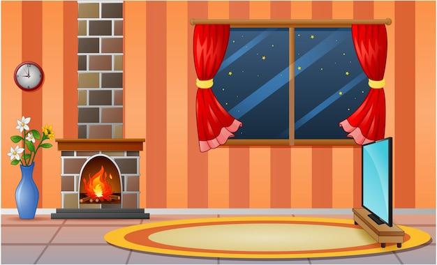 Interior aconchegante da sala de estar com lareira