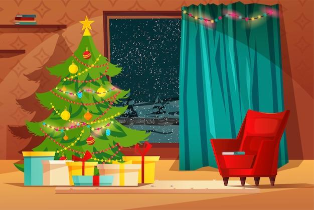 Interior aconchegante da sala de estar decorado para as férias de natal.