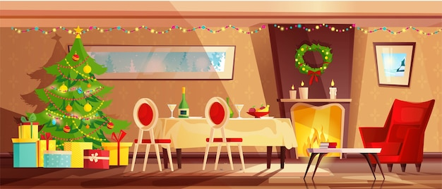 Interior aconchegante da sala de estar decorado para as férias de natal.