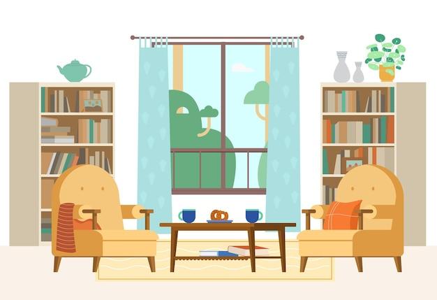 Interior aconchegante da sala de estar