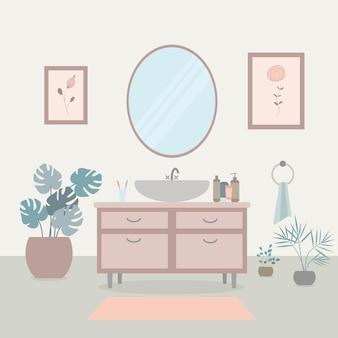 Interior aconchegante do banheiro com pia e espelho, cosméticos e plantas