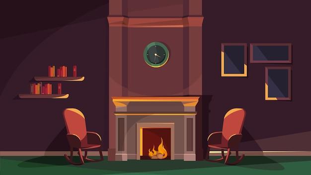 Interior aconchegante em estilo cartoon com lareira e cadeiras
