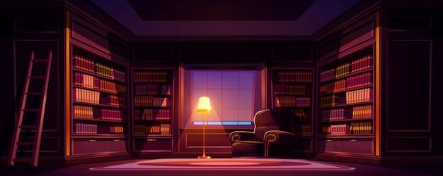 Interior antigo luxo da biblioteca à noite, quarto vazio escuro para ler com livros nas prateleiras de madeira