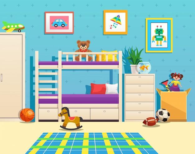 Interior arrumado do quarto de crianças com fotos de beliche no aquário de parede com peixes e brinquedos