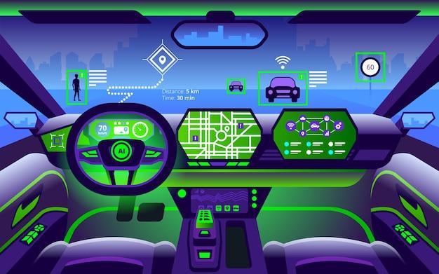Interior autônomo de carro inteligente