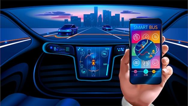 Interior autônomo do carro inteligente