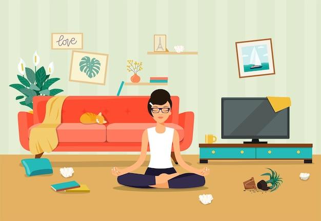 Interior bagunçado da sala de estar. jovem mulher em pose de ioga, posição de lótus. ilustração vetorial