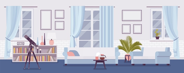 Interior bem decorado da sala de estar