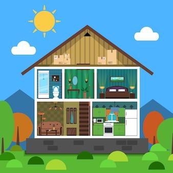 Interior, casa, ilustração