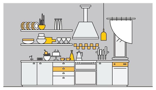 Interior chique da cozinha equipada com eletrodomésticos eletrônicos, utensílios de cozinha, utensílios de cozinha e instalações