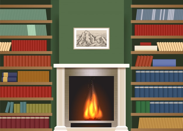 Interior clássico com prateleiras de livros