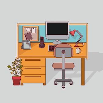 Interior colorido do escritório do lugar de trabalho do fundo