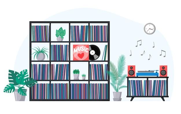 Interior com coleção de vinil nas prateleiras e toca-discos tocando disco de música