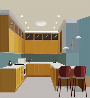 Interior com cozinha amarela e bancos vermelhos