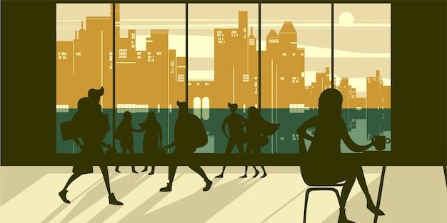 Interior com jovens apressando-se em um edifício de escritório moderno