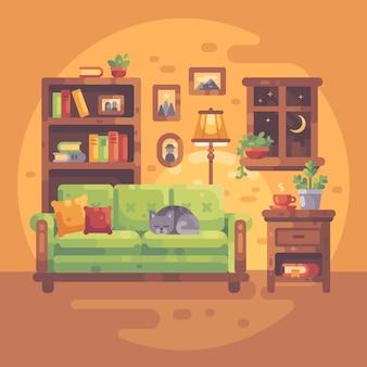 Interior confortável da sala com livros e um gato que dorme em um sofá, noite acolhedor em casa.