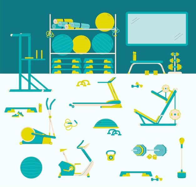 Interior da academia com ícones isolados de equipamentos esportivos, uma ilustração vetorial