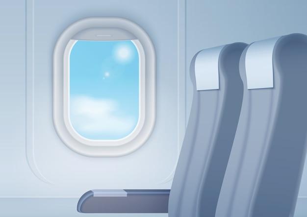 Interior da aeronave com janela e assentos realistas