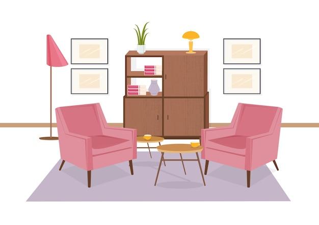 Interior da área de estar decorada em estilo retrô dos anos 70