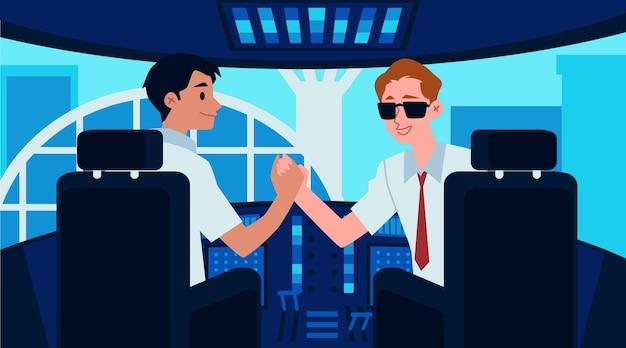 Interior da cabine do avião com capitão e copiloto dos desenhos animados apertando as mãos