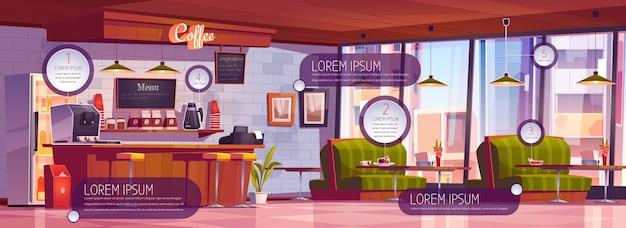 Interior da cafeteria com elementos de infográfico. ilustração dos desenhos animados do café vazio com balcão de madeira, bancos, sofás e mesas. café bar com ícones e banners informativos