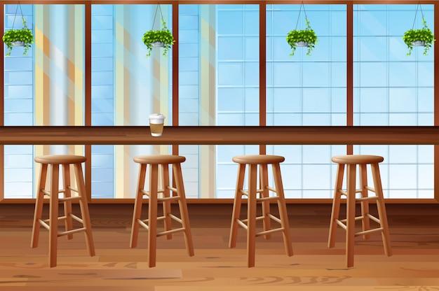 Interior da cafeteria com janela de vidro