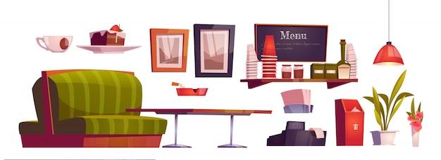 Interior da cafeteria com sofá, mesa de madeira, caixa e copos na prateleira