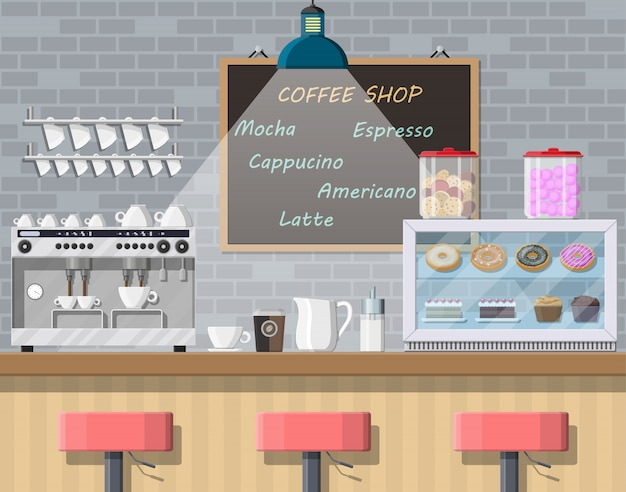Interior da cafeteria, pub, café ou bar.