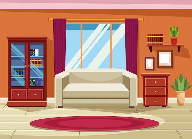 Interior da casa com cenário de móveis