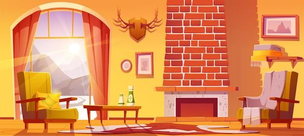 Interior da casa com lareira e montanhas por trás da ilustração dos desenhos animados.