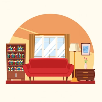 Interior da casa com mobília