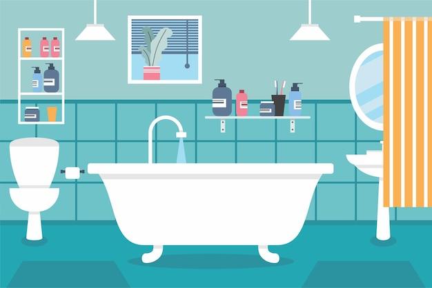 Interior da casa de banho com duche, banheira, espelho, cortina, espelho, lavagem, gel champô, sanita