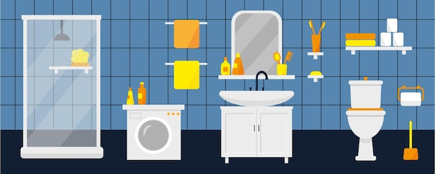 Interior da casa de banho com máquina de lavar roupa e wc ilustração vetorial