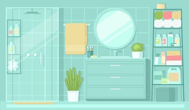Interior da casa de banho, espelho de lavatório da cabina de duche e prateleira com champôs e toalhas