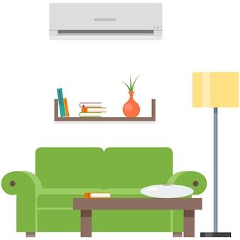 Interior da casa do vetor da sala com mobília do sofá