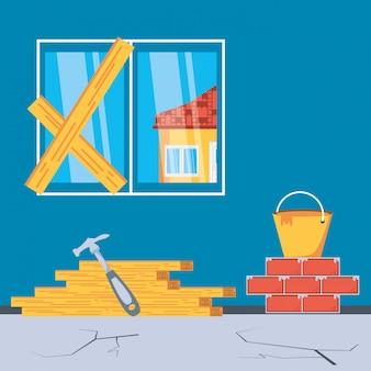 Interior da casa em construção com ferramentas