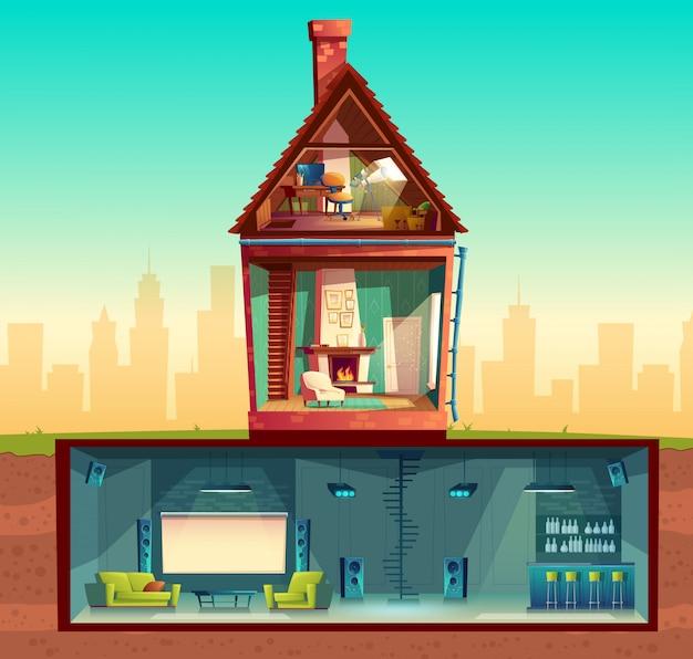 Interior da casa em seção transversal, sala de estar dos desenhos animados. sótão com observatório.