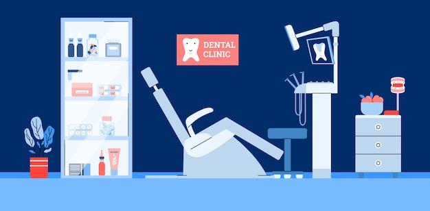 Interior da clínica dentária com médico dentista no local de trabalho e paciente cadeira