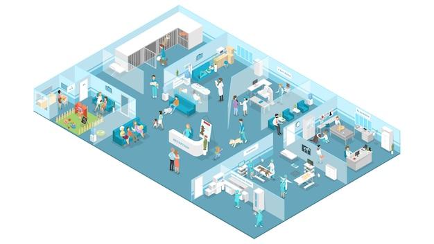 Interior da clínica veterinária com recepção, sala de espera, exame e salas de cirurgia.