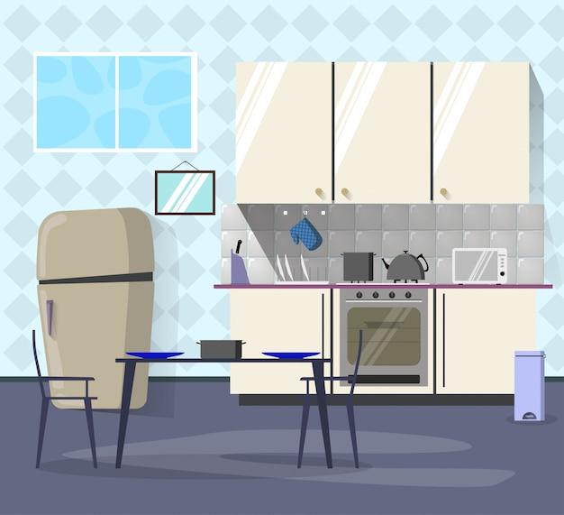 Interior da cozinha com área de jantar.