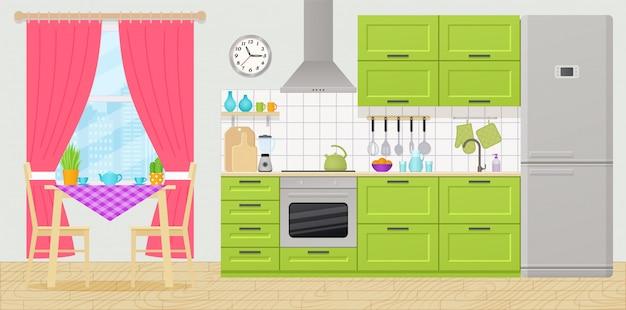 Interior da cozinha com eletrodomésticos, móveis. sala com mesa de jantar, fogão, armário, liquidificador, geladeira e janela em design plano.