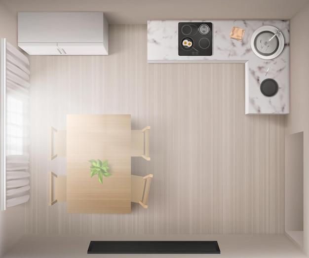 Interior da cozinha com fogão, mesa de jantar e geladeira na vista superior