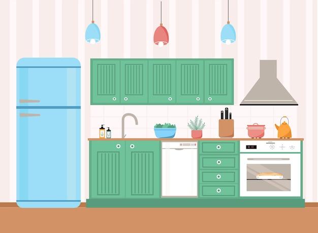 Interior da cozinha com geladeira, mesa, armários, fogão, máquina de lavar louça