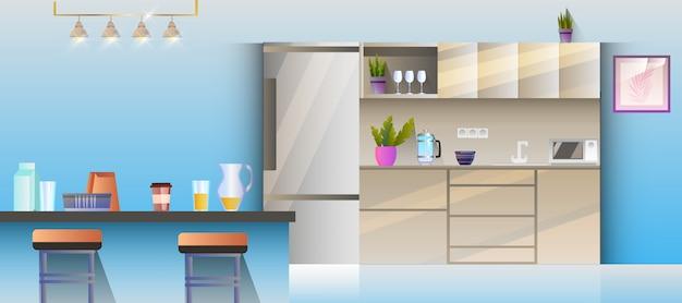 Interior da cozinha com mesa, abajur, cadeira, geladeira, prateleira