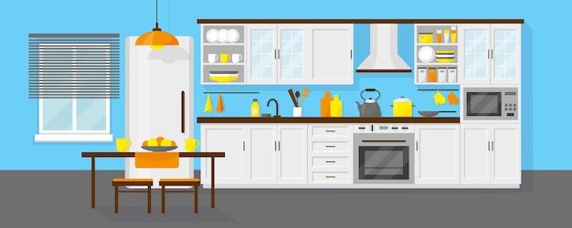 Interior da cozinha com mobília
