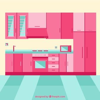 Interior da cozinha com móveis cor de rosa