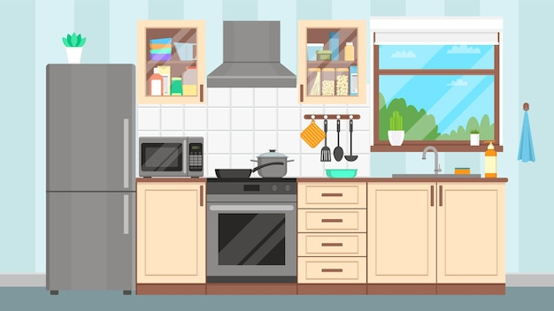 Interior da cozinha com móveis e eletrodomésticos