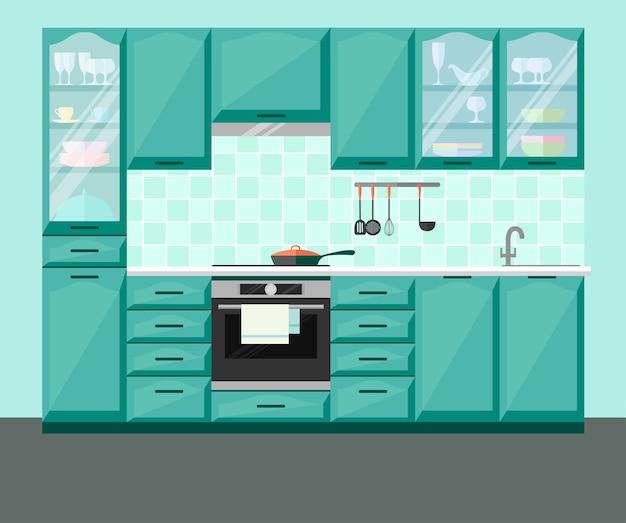Interior da cozinha com móveis e equipamentos
